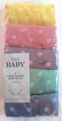 New Baby Girls 5 Pack Long Sleeve Bodysuits Vests 6-9 Months Marks & Spencer