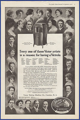 Vintage 1919 VICTOR Victrola Talking Machine Various Artists Phonograph Print Ad