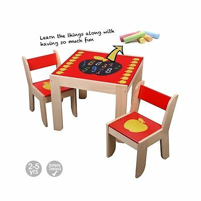 Labebe Wooden Activity Table, Red Apple Child Table and Chair for 1-5 Years O...