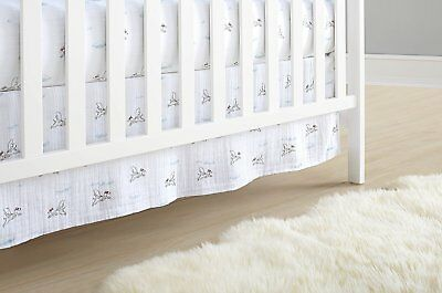 aden + anais Classic Crib Skirt Cotton Muslin Liam Brave Dogs Baby Bedding and