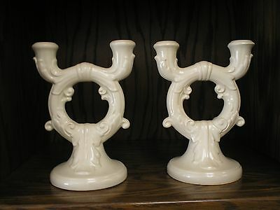 "Red Wing Pompeian Candle Holders (2) No. 240 9"" Tall Antiqued Ivory MINT"