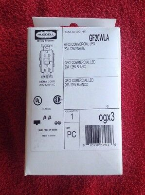 Hubbell Gf20Wla, Gfci Commercial Led, 20 Amp, 125V, White Receptacle