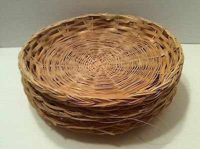 6 WICKER RATTAN Vintage Paper Plate Holders Camping Picnic RV BBQ ...