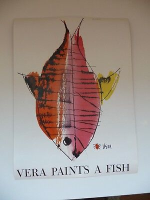 1959 Scarves By Vera Paints A Fish Fashion Print Ad In Near Mint Condition