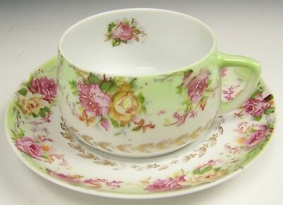 Antique Hermann Ohme Germany Roses Teacup & Saucer Tea Cup