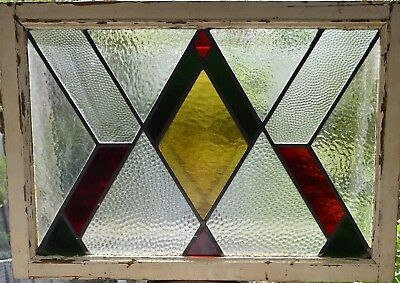 Antique Leaded English Stained Glass Window Wood Frame England Old House 87