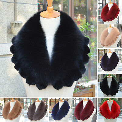 Real Fox and Rex Rabbit Fur Collar Highly Recommend Scarf Shawl Fancy Luxury