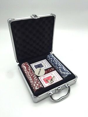 Pro Casino Poker Set 100 Chips with Carry Case and Free Accessories AU