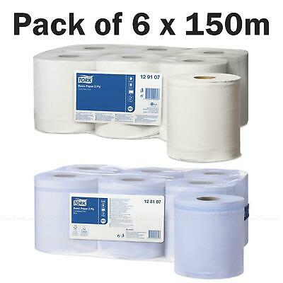 Tork M2 Centre Feed White Blue Wiping Paper Plus Towel Roll - Pack of 6 Rolls