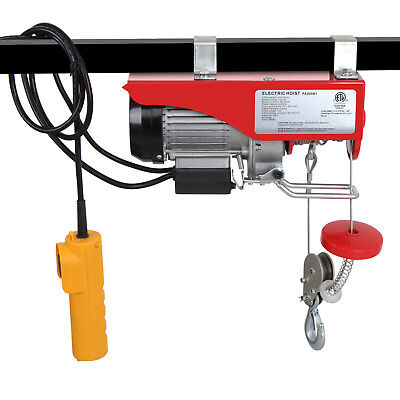 440 Lb Electric Cable Hoist Crane Lift Garage Auto Shop Winch W/Remote 110V