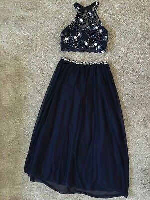 My Michelle, Navy Halter Two Piece Prom Dress, Size 15 (Not Altered)