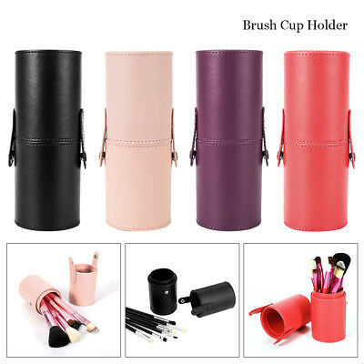 PU Leather Cosmetic Case Portable Storage Make Up Bags Brush Holder Cup