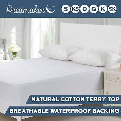 WATERPROOF MATTRESS PROTECTOR Cotton Terry Towelling Pillow Cover Cot Boori