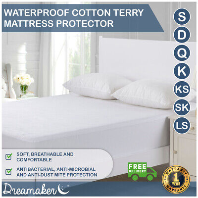 Waterproof Mattress Protector Cotton Terry Towelling Fully Fitted Cover All Size