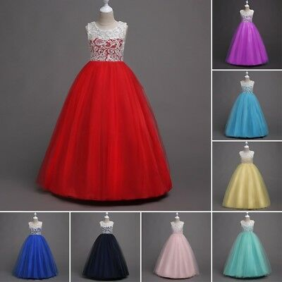 Kids Flower Girl Lace Tulle Long Dresses Wedding Bridesmaid Party Prom Ball Gown