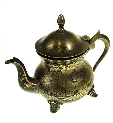 Vintage Old Brass Metal Tea Pot Ornamented Collectible Nice Rare  NR 4529