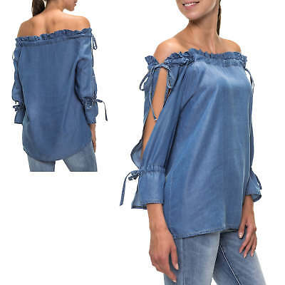 Hachiro Damen Off Shoulder Bluse Jeansbluse Carmenbluse Denim Casual NEU