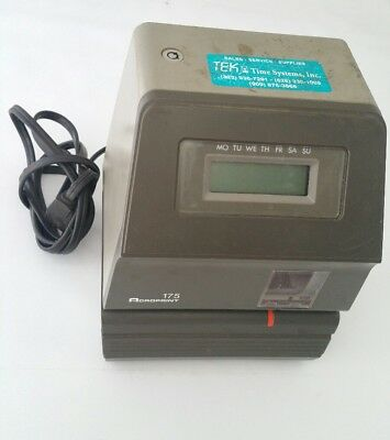 Acroprint 175 Electronic/Digital Time Clock Stamp/Punch/Recorder Locked/No Key