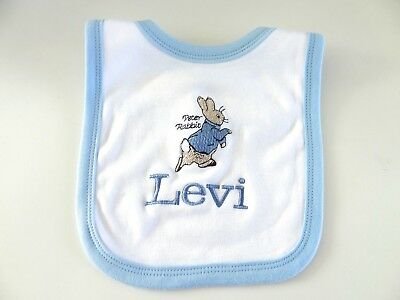 Personalised Baby Bib -Blue Or Pink Trim Embroidered Peter Rabbit Beatrix Potter
