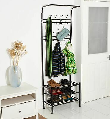 Vinsani Black Metal Multi-Function Clothes Coat Stand Shoes Rack Umbrella Stand