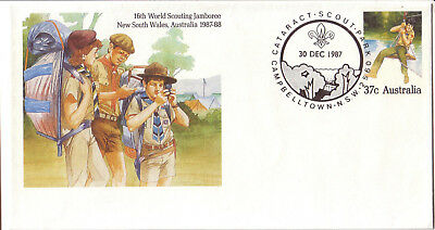 "1987 PictPMK. Cataract Scout Park postmark ""CAMPBELLTOWN"" on Scouting PSE"