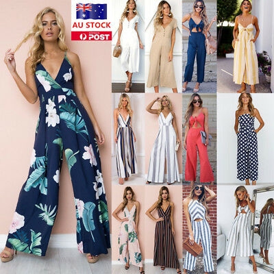 Women Jumpsuit V Neck Playsuits Wide Leg Long Pants Ladies Summer Party Romper