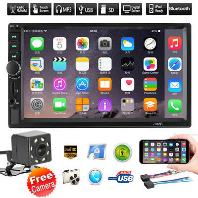 "7"" Double 2 DIN Car MP5 MP3 Player Bluetooth Touch Stereo Radio FM USB +Camera"