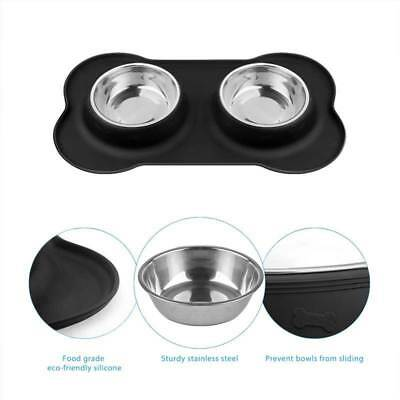 Non-Spill Silicone Dog Puppy Cat Pet Animal Feeding Food Water Double Bowl Dish