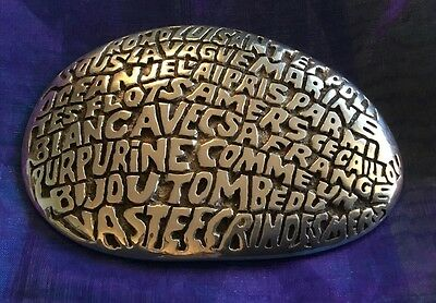 Vintage Crhristofle France Paperweight Written By The Poet Louis Bouilhet 1983