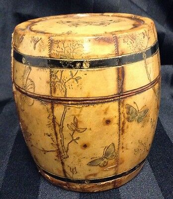 Antique Parchment Covered Wood Barrel Cigarette Box Japanese Style Signed Vienna