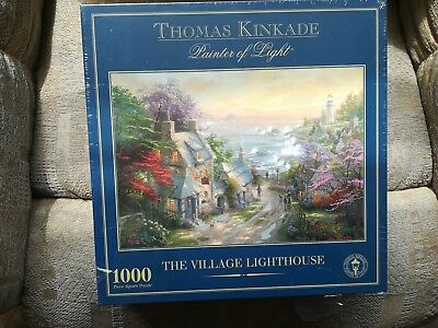New 1000 Piece Thomas Kinkade Jigsaw Puzzle The Village Lighthouse
