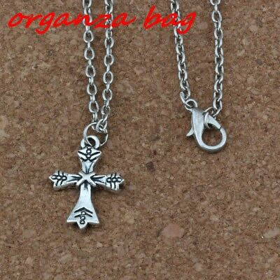 3pcs Ancient silver Alloy Cross Charm Pendant Necklaces 18 inches Chains Jewelry