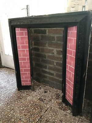 Victorian Edwardian Fireplace Cast Iron Surround Original Pink Brick Tiles