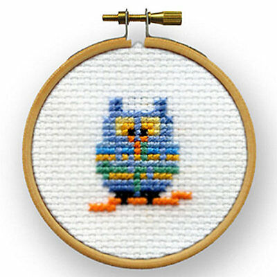 Mouseloft Mini Cross Stitch Kit - Blue Owl, Quicklets Collection With 3'' Wooden
