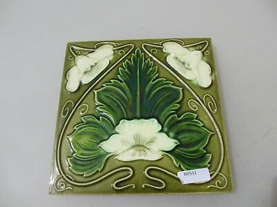 Antique Ceramic Tile Floral Art Nouveau Vintage England Edwardian Old Floral