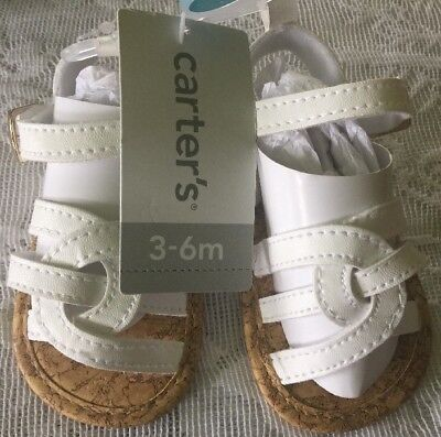 39679a1b5ba CARTERS 3-6 MONTH Baby Girl White Cross Front Sandal Crib Shoes -  12.99