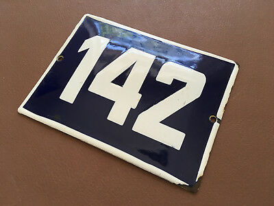 ANTIQUE VINTAGE ENAMEL SIGN HOUSE NUMBER 142 BLUE DOOR GATE STREET SIGN 1950's