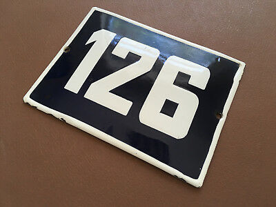 ANTIQUE VINTAGE ENAMEL SIGN HOUSE NUMBER 126 BLUE DOOR GATE STREET SIGN 1950's