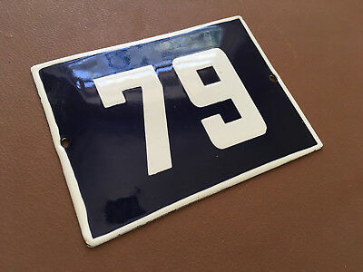 ANTIQUE VINTAGE ENAMEL SIGN HOUSE NUMBER 79 BLUE DOOR GATE STREET SIGN 1950's