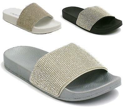 Womens Ladies Slip On Studded Diamante Trim Low Flat Sliders Sandals Shoes Size
