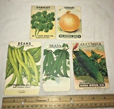 Antique 5X Vegetable Seed Pack Vintage Country Farm Store Garden Onion Bean Old