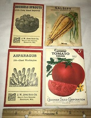 Antique 4X Unopened Vegetable Seed Pack Vintage Country Farm Store Garden Packet