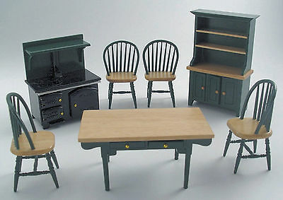 1:12 Scale 7 Piece Green & Pine Kitchen Set Tumdee Dolls House Accessory 897