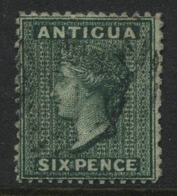 Antigua QV 1876 6d blue green used