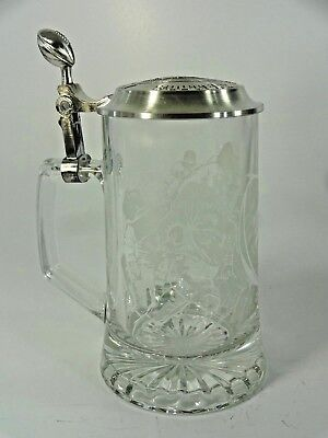 1998 NFL 16 oz Glass Football Etched Beer Stein with Pewter Lid - NIB Avon