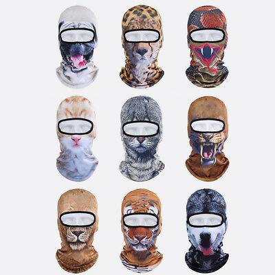 3D Cat Face Print Dog Lion Face Mask Leopard Animal Cycling Balaclava Motorcycle