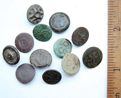 Group Of 12 Old Vintage Ornament Decorated Brass Buttons (FBR)