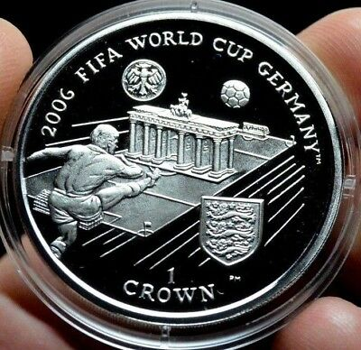 Isle Of Man Crown Silver Proof World Cup Fifa 2006 Germany Football Coin