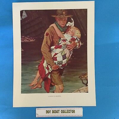 "Boy Scout Norman Rockwell Print 11""x14"" A Scout Is Helpful"