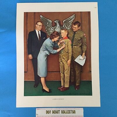"""Boy Scout Norman Rockwell Print 11""""x14"""" A Great Moment Eagle Scout Ceremony"""